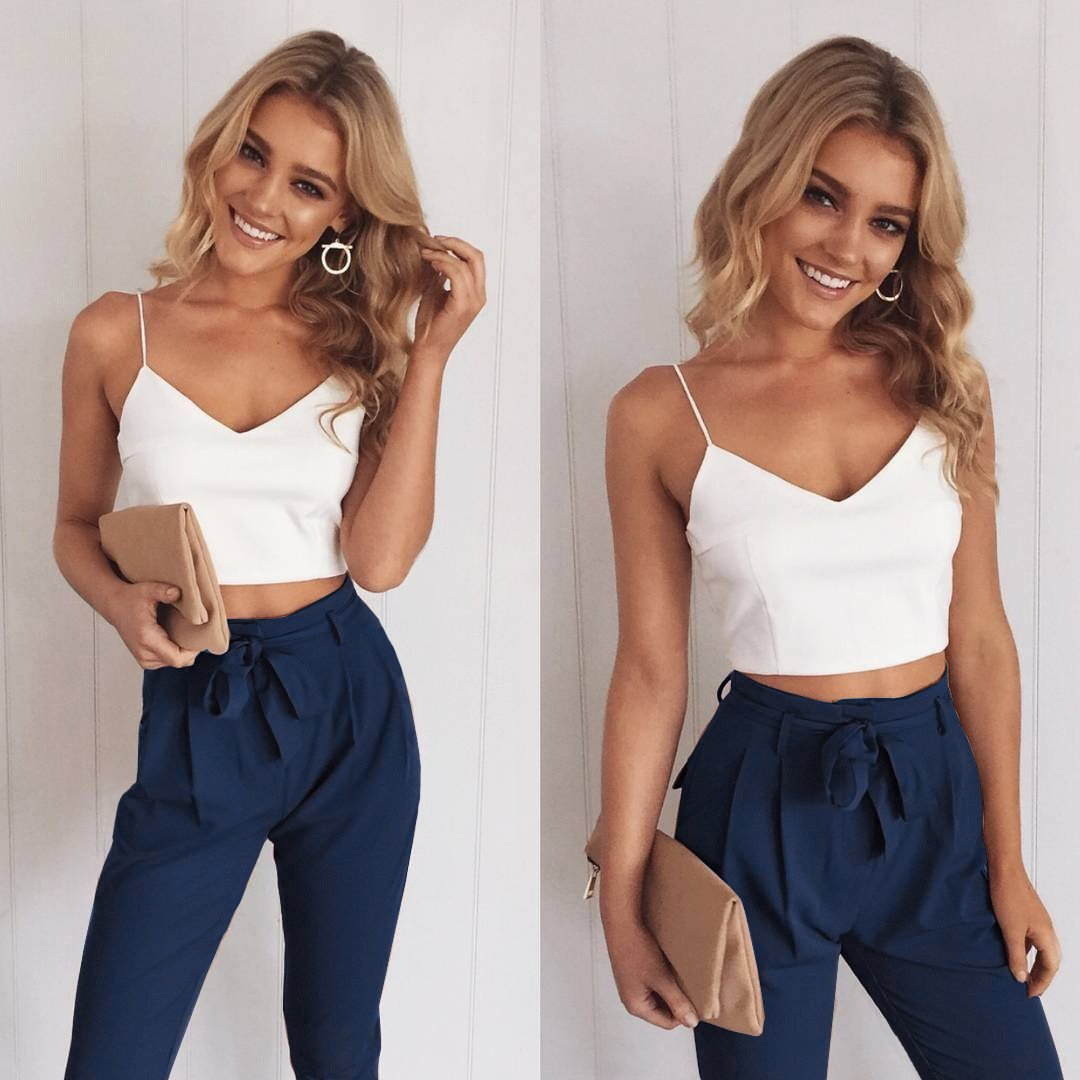 4e049f411e5 Spaghetti Straps Crop Top with Skinny Pants Two Pieces Set ...