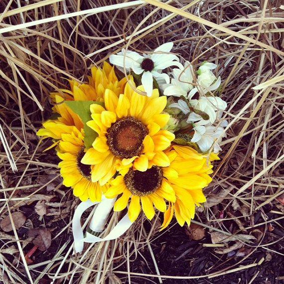 Sunflower Bride Bouquet with White Daisies