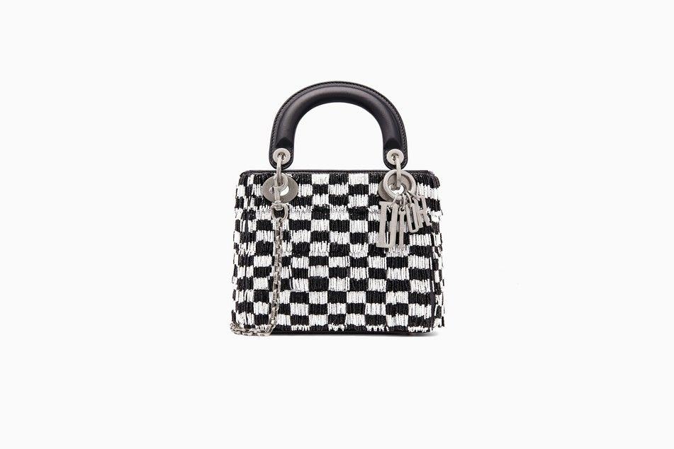 Mini Lady Dior bag with chain in black smooth calfskin embroidered with  black and white beaded fringing - Lady Dior Dior 6b28b36ee3fdd