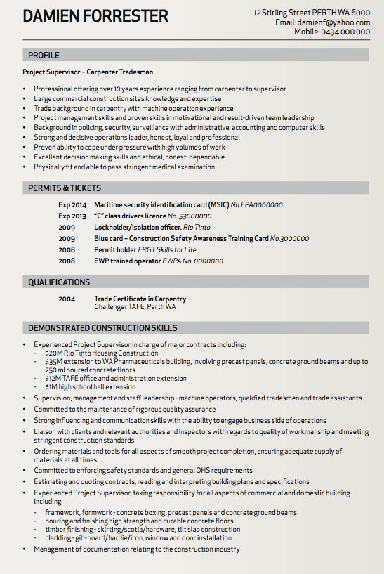 Carpenter Tradesman Resume Sample  HttpResumesdesignCom