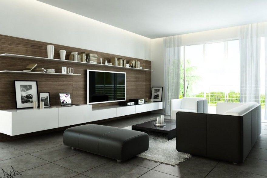 Simple Living Room With Tv like: hanging with no legs, very simple and clean. dislike