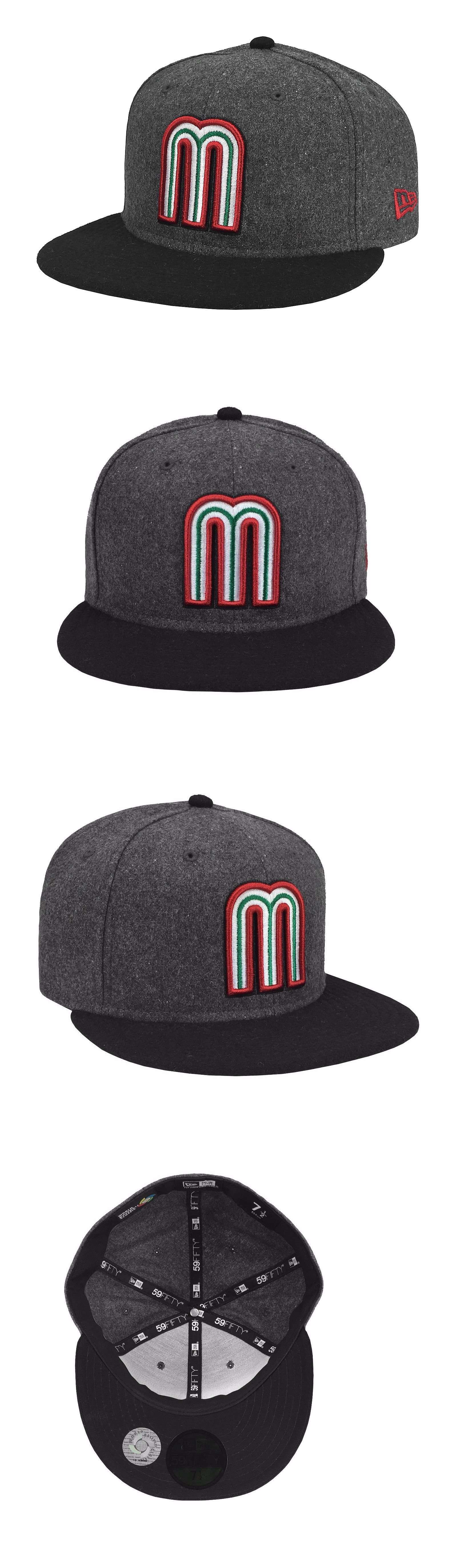 New Era 59Fifty Mens Cap Mexico World Baseball Classic Fitted Hat Gray Black Red