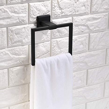 Amazon Com Tnoms Bathroom Hand Towel Holder Square Towel Bar Towel Ring Hanger Wall Mount Su In 2020 Hand Towel Holder Bathroom Hand Towel Holder Hand Towels Bathroom