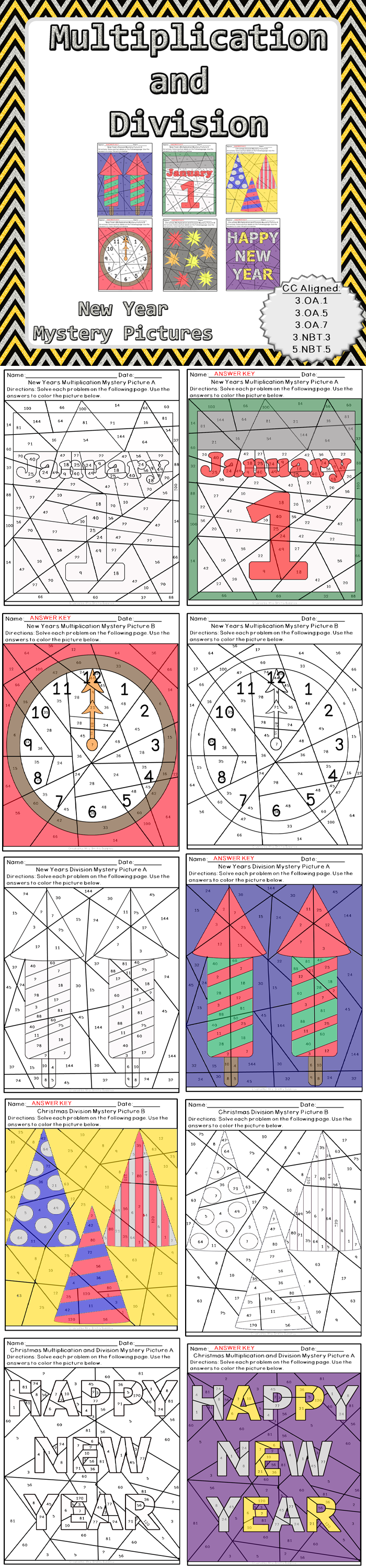 New Year Multiplication and Division Mystery Pictures | Math fact ...