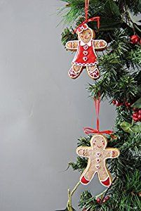 Gisela Graham Mini Gingerbread Man & Lady Set of 2 ...