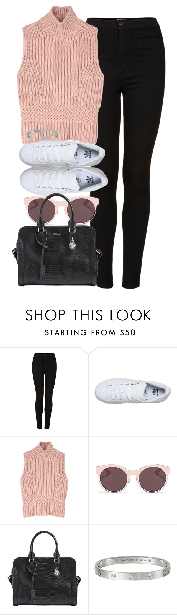 """""""Untitled #444"""" by allysa-bojador on Polyvore featuring Topshop, adidas, Diesel Black Gold, Christian Dior, Alexander McQueen and Cartier"""