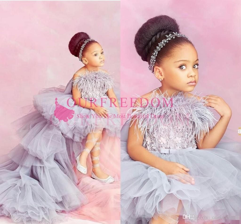 Flower Girls Tulle Tutu Dress Ball Gown for Kids Wedding Birthday Party Baptism