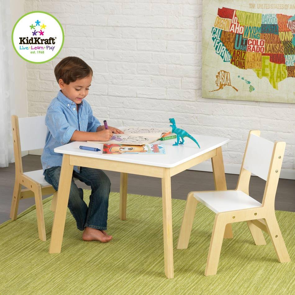 Table Et Chaises Blanches Style Moderne Pour Les Enfants Kids Table Chair Set Modern Kids Table Kids Furniture