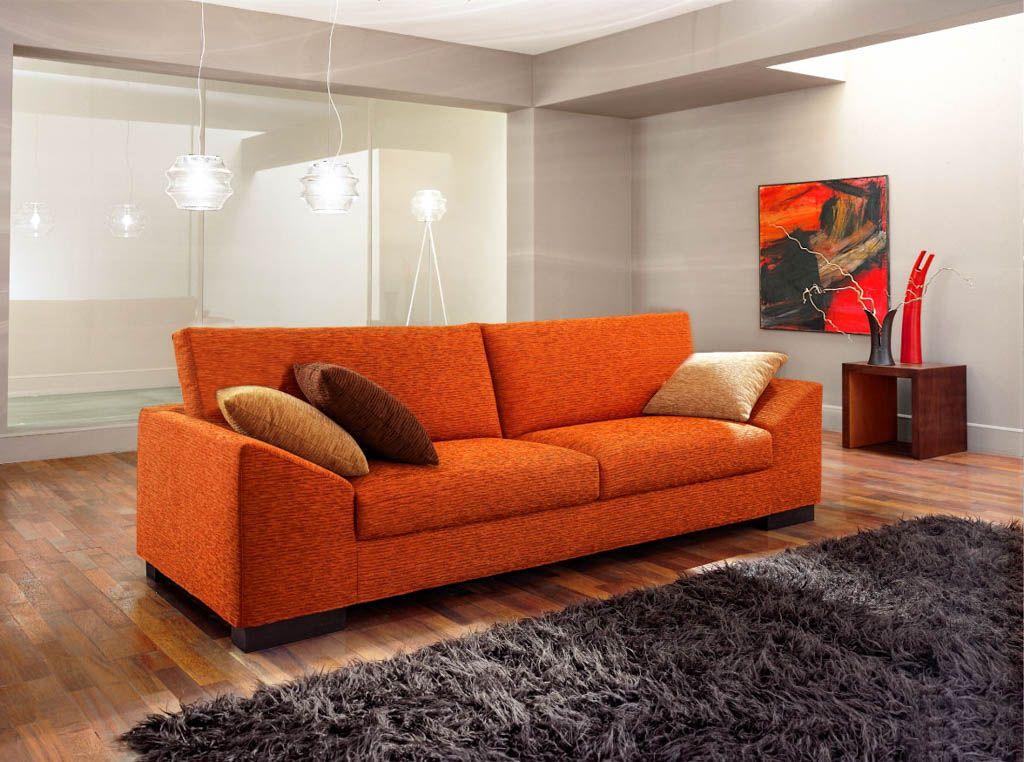 Sofa Modelo Divano en capri naranja con apoyabrazos diagonales ...