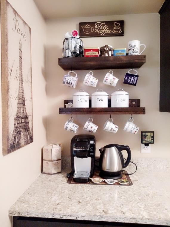 Rustic Mug Rack With Shelf Wall Mounted Coffee Cup Holder Display Coffee Bar Decor Organizer Coffee Bar Home Home Coffee Stations Coffee Station Kitchen