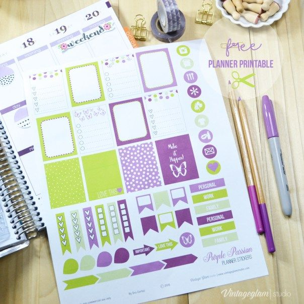 Purple Passion Planner Stickers - Free Printable Download - Vintage Glam  Studio