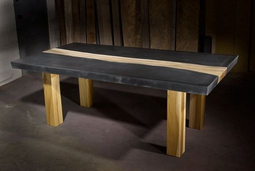 Custom Made Concrete Table With Wood Inlay Furniture Pinterest - Custom made concrete table