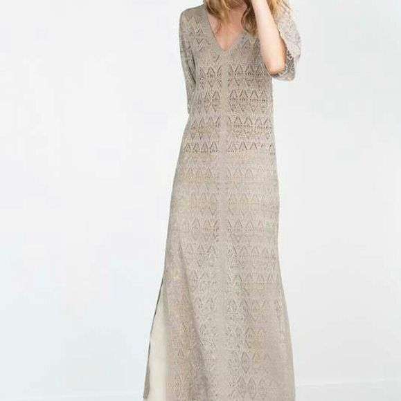 e87b1091 Beige open knit maxi dress Perfect summer dress or swim cover up.....about 55  inches total length...53% viscose, 47% polyester... Machine wash gentle  cycle, ...