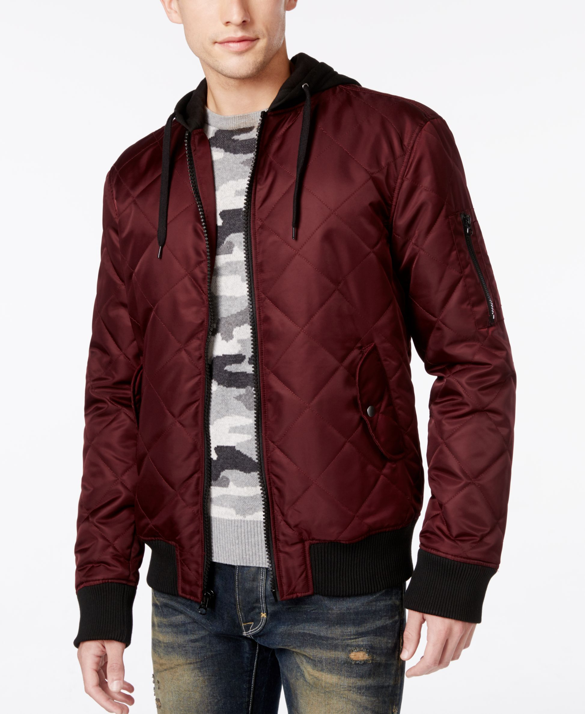 American Rag Men S Quilted Hooded Bomber Jacket Only At Macy S Hooded Bomber Jacket Mens Outdoor Jackets Bomber Jacket