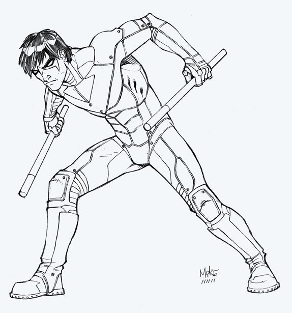 nightwing robin coloring pages - Nightwing Coloring Pages