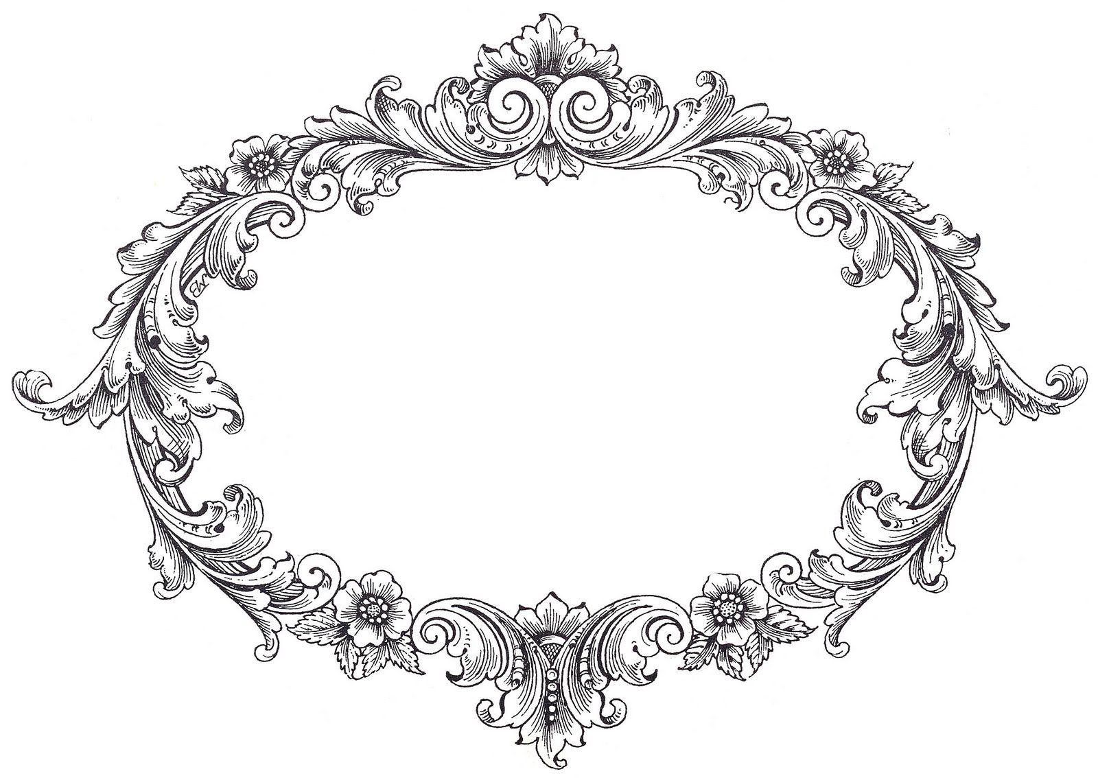 Vintage Clip Art Fancy Oval Frame Vintage Clip Art