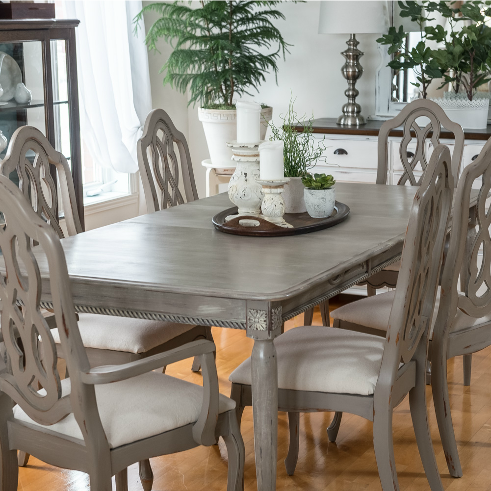 Dining Table Makeover With Paint And Moulding