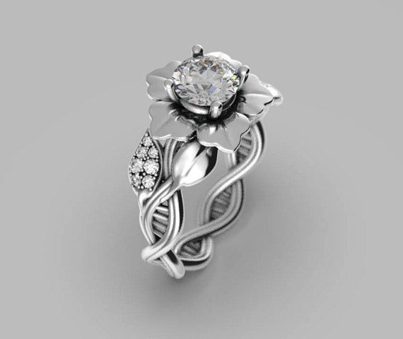 pin science flower engagement moissanite braided geek rings wedding ring dna