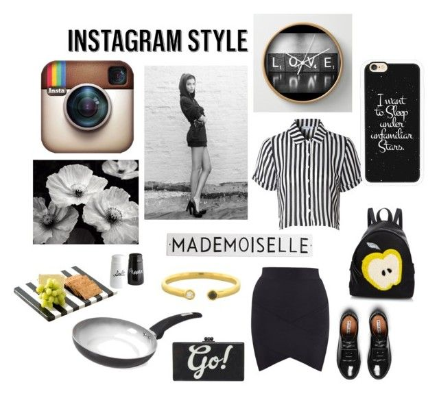 """""""Instagram Style: 'Mademoiselle'"""" by luisa ❤ liked on Polyvore featuring Glamorous, Acne Studios, Casetify, Fendi, Tower, Shiraleah, Bony Levy, Rosanna, Edie Parker and blackandwhite"""