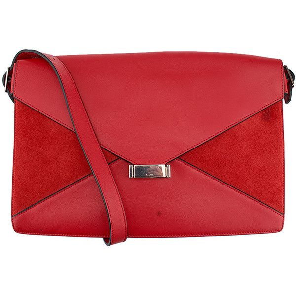 Pre-owned Celine Red Leather & Suede Diamond Shoulder Bag ($736) ❤ liked on Polyvore featuring bags, handbags, shoulder bags, red, red purse, purse shoulder bag, red leather purse, leather purses and man bag