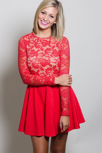See Right Through You Dress- Red