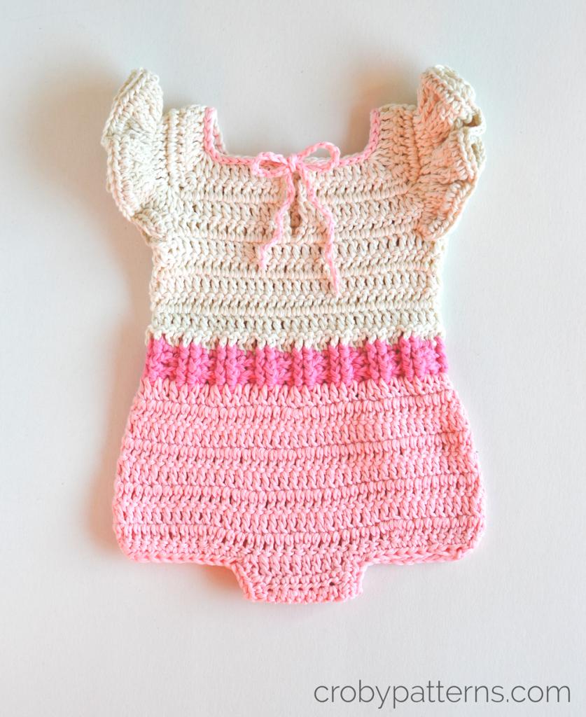 Croby Patterns Crochet Baby Romper Pattern Pink