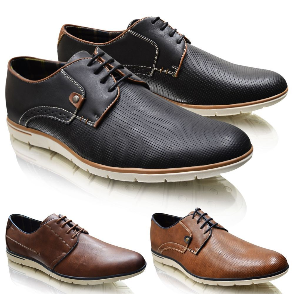 Mens Formal Smart Work Shoes Oxford Brogues Size 6-12 Leather Lace Up Slip On
