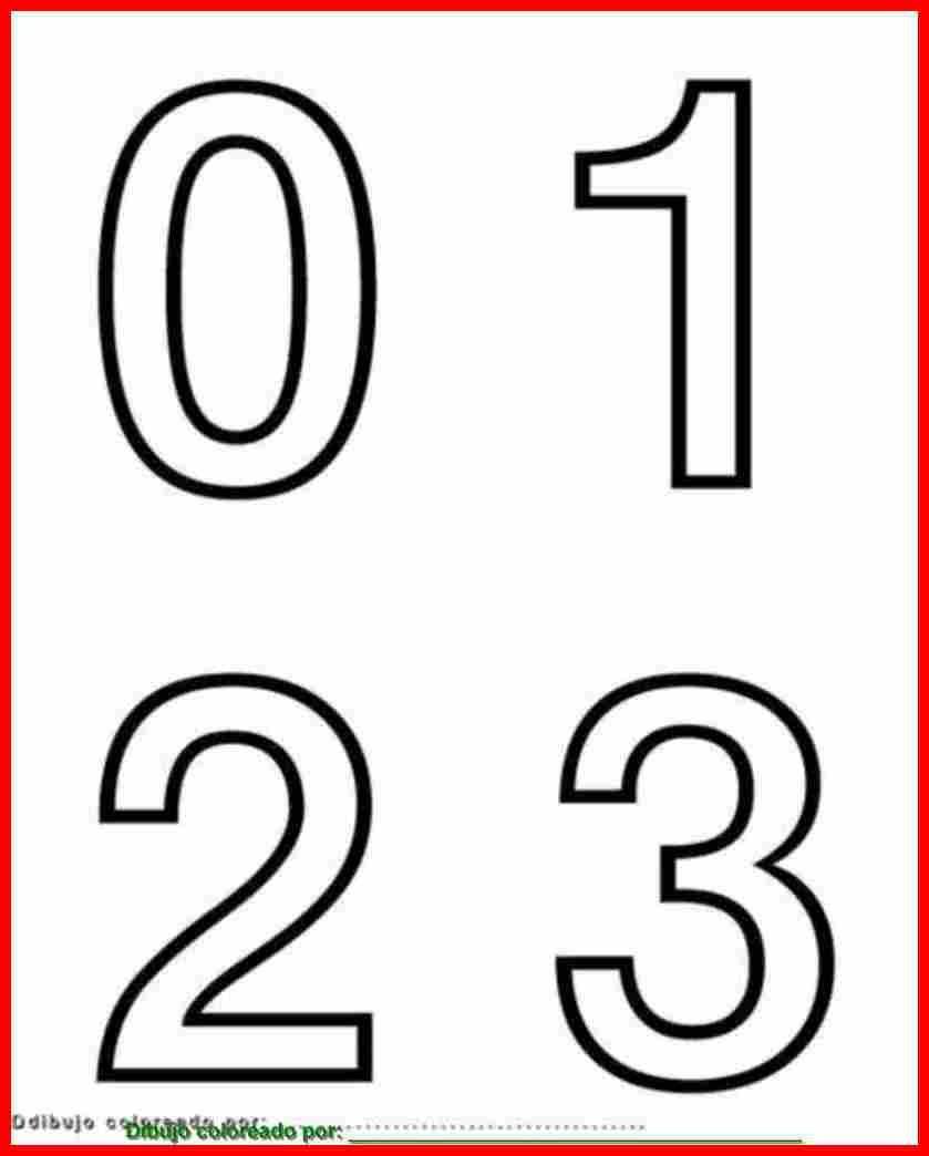 Numeros 0 1 2 3 Para Colorear Pintar Imprimir Molde De