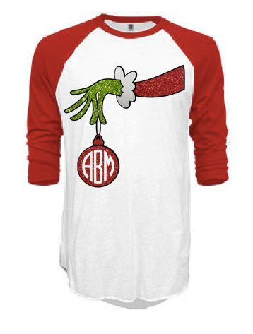 f4019104 Grinch Monogram Hand Ornament Raglan Unisex Tee | My Shop ...