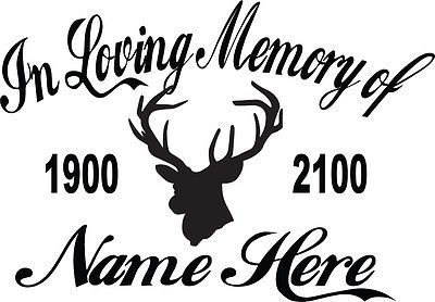 In Loving Memory Vinyl Decal Sticker Personalized Custom Car Window Hook Antler