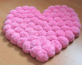 Cuore tappeto - tappeto rosa - Pom Pom tappeto - morbido tappeto - tappeto - decorazione della scuola materna - tappeti - pompon tappeto - tappeto decorativo - tappeto peluche per bambini