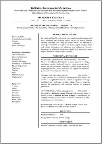 Ophthalmic Technician Resume Best Sample Resume Job Resume Samples Resume Examples Sample Resume