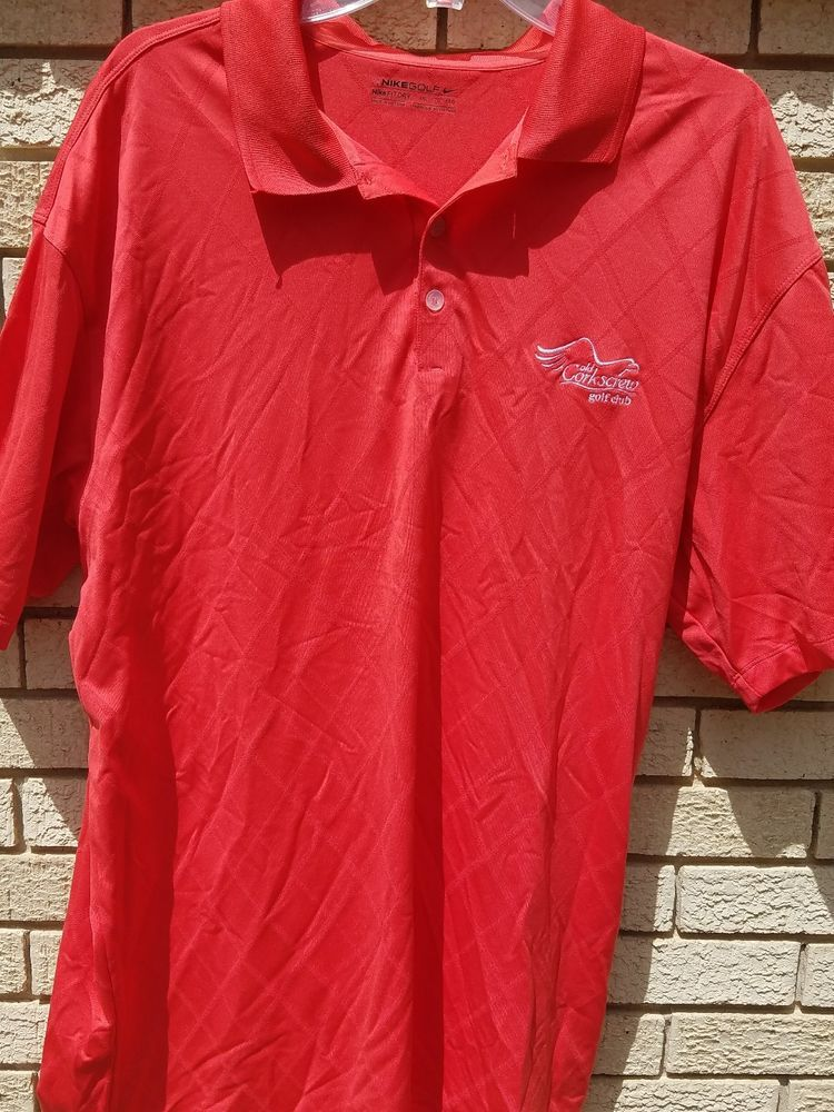 Mens nike dry fit golf shirt xxl red old corkscrew golf