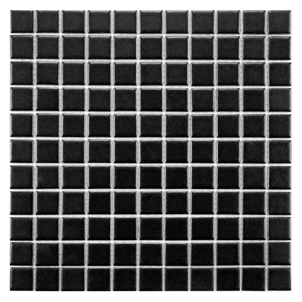 Merola Tile Metro Square Matte Black 11 3 4 In X 11 3 4 In X 5 Mm Porcelain Mosaic Tile 9 8 Sq Ft Case Fxlms1bk The Home Depot Porcelain Mosaic Tile Porcelain Mosaic Merola Tile