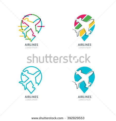 Flight Airplane Silhouette And Waypoint Symbol Set Of Vector Flat
