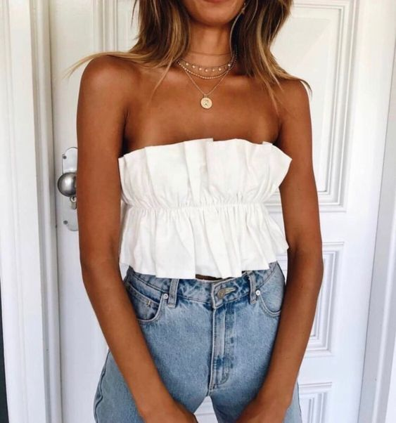 Chic Backless Strapless Ruffle Crop Top  #tubetopoutfits
