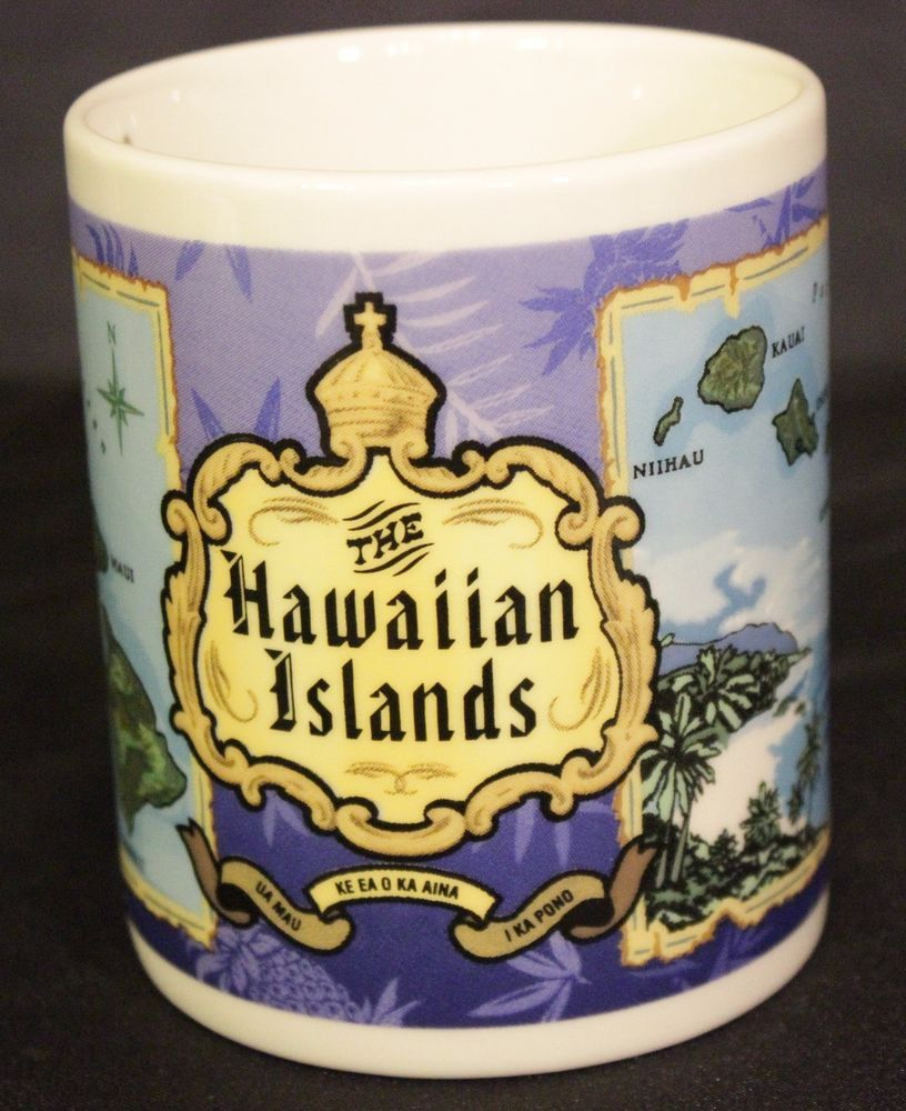 Hawaiian Islands Coffee Mug Tea Cup White Hot Chocolate Kauai Oahu Lanai Maui #BlueIslandChain