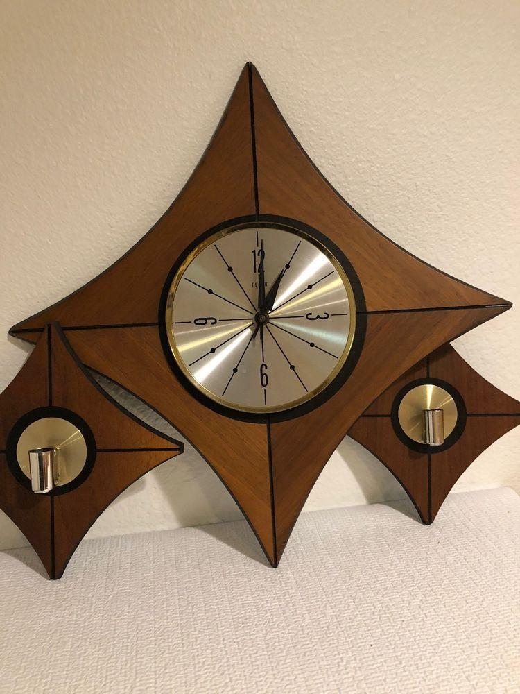 Elgin Diamond Starburst Wall Clock Retro Mid Century Modern 2 Candle Sconces Elgin Mid Century Clock Retro Wall Clock Modern Clock