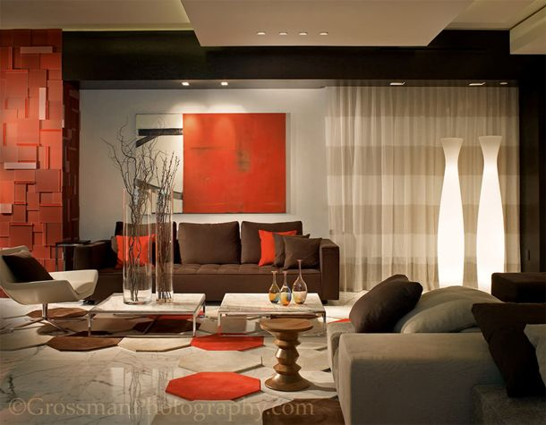 Color of the day black bean dark brown sofas and red Orange and red living room design