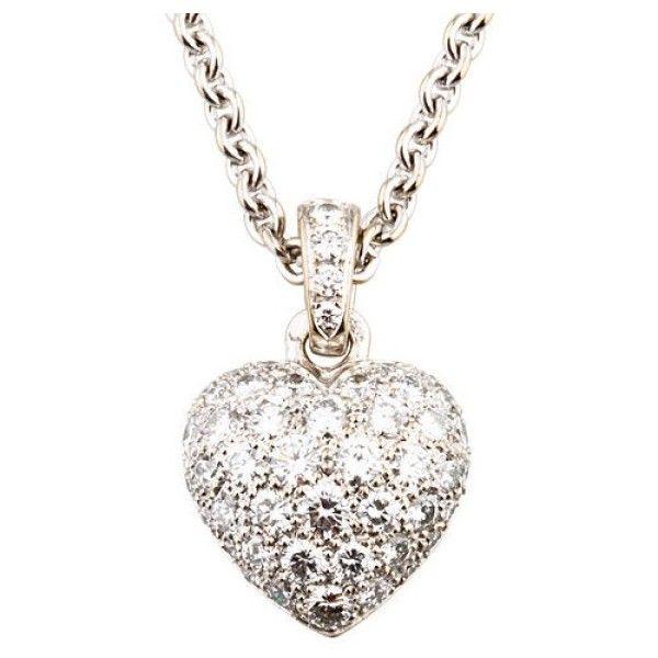 Pre owned cartier 18k white gold diamond bubble heart pendant pre owned cartier 18k white gold diamond bubble heart pendant necklace 8395 aloadofball Images