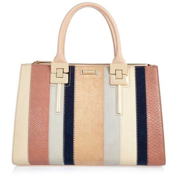 River Island Pink stripe panelled tote handbag ($59) ❤ liked on Polyvore featuring bags, handbags, tote bags, white handbags, pink tote bag, handbags totes, striped tote and pink purse