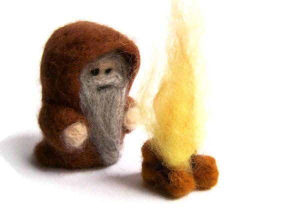 Needle Felted Wizard with Fire  Merlin Druid Emrys by Knittynudo