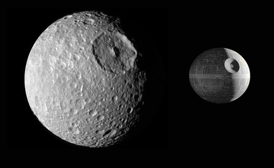 That's no moon... Oh, wait, yes it is. :-) One of Saturn's moons, Mimas, looks just like the Death Star! *insert Imperial March here*
