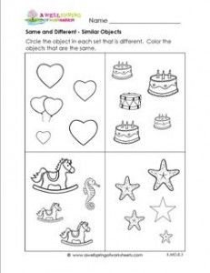 Same And Different Worksheets Similar Objects Sorting Worksheets Kindergarten Worksheets Kindergarten Math Worksheets Free Alphabet Worksheets Preschool