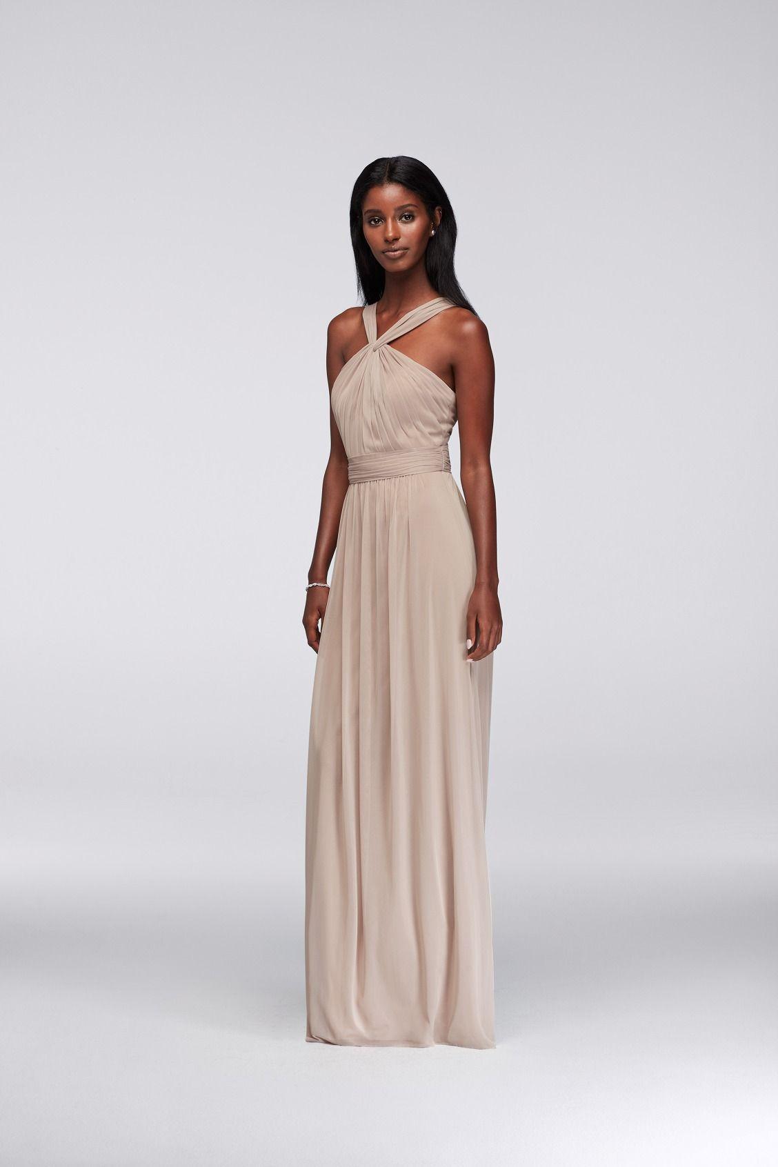 Taupe yneck long mesh bridesmaid dress by davidus bridal