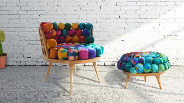 Een meubelcollectie van gerecycled zijde