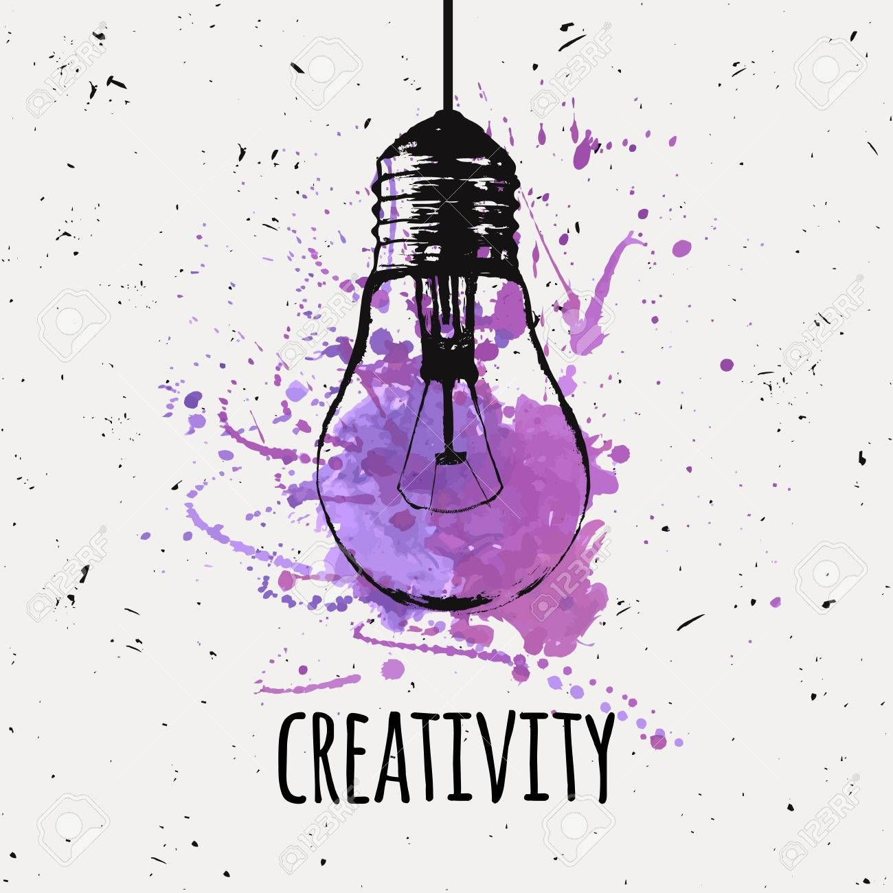 Vector illustration with hanging grunge light bulb with watercolor. Vector illustration with hanging grunge light bulb with watercolor splash. Idea and creativity concept.