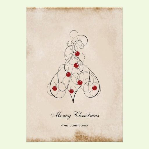 Tan +Modern Christmas Tree Flat Christmas Cards New Invites  Card