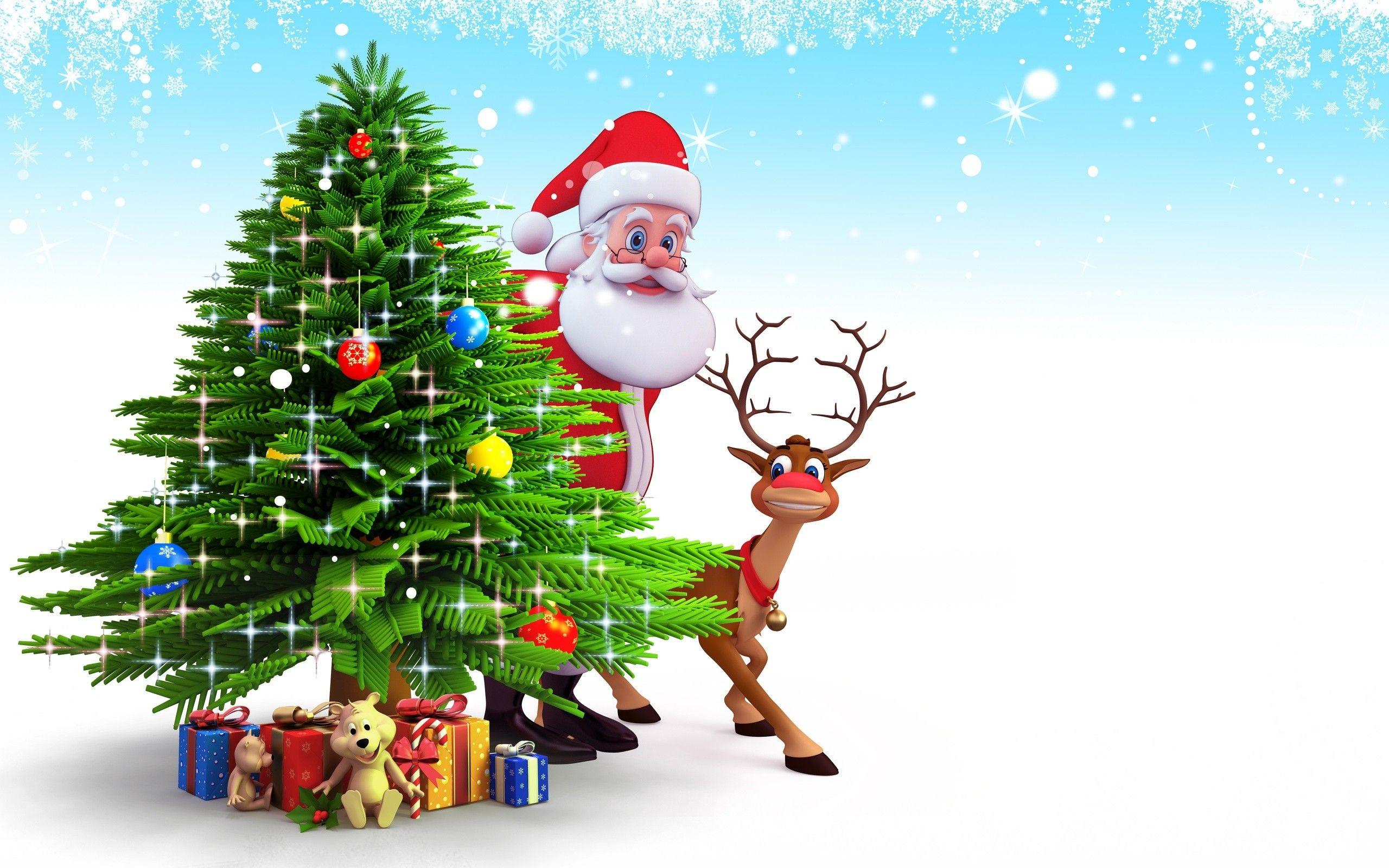 Choinka, Mikołaj, Prezenty, Renifer | Christmas pictures, Christmas cover, Merry christmas background