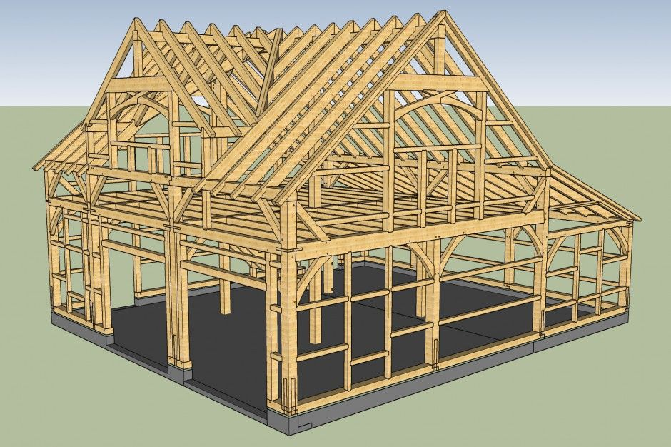 3d Rendering Of Carriage Barn Timber Frame With Reverse Gable Dormer Roofing Roof Design Post And Beam